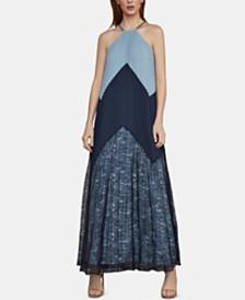 BCBGMAXAZRIA Colorblocked Halter Dress