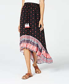 Juniors' Printed High-Low Skirt