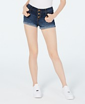 c4714ccba68 Vanilla Star Juniors' Low-Rise Button-Up Jean Shorts