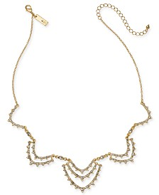 "I.N.C. Gold-Tone Crystal Scallop Statement Necklace, 16"" + 3"" extender, Created for Macy's"