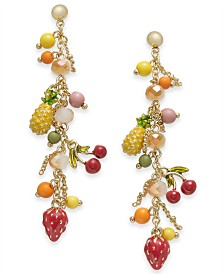 I.N.C. Gold-Tone Beaded Fruit Drop Earrings, Created for Macy's