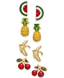 I.N.C. Gold-Tone 4-Pc. Set Fruit Stud Earrings, Created for Macy's