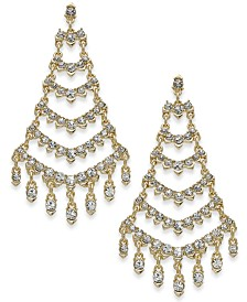I.N.C. Gold-Tone Crystal Ladder Chandelier Drop Earrings, Created for Macy's