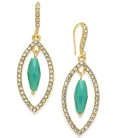 I.N.C. Gold-Tone Stone & Crystal Marquise Orbital Drop Earrings, Created for Macy's