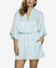 Plus Size Gem Satin Wrap Robe, Online Only
