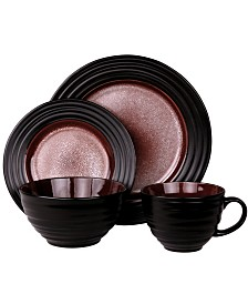 Elama'S Naina 16 Piece Double Bowl Stoneware Dinnerware Set