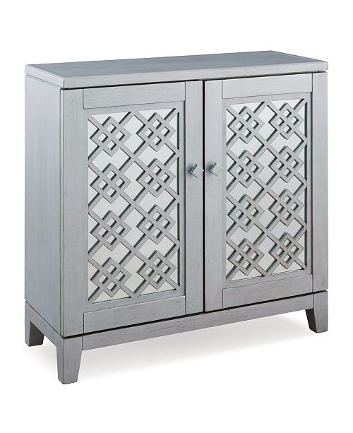 Leick Home Mirrored Diamond Filigree Hallstand/Entryway Table with Adjustable Shelf