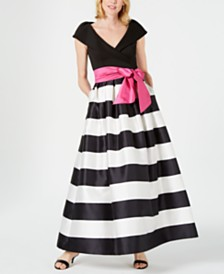 Jessica Howard Portrait-Collar Striped Bow Ballgown