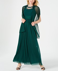 Jessica Howard Embellished Cutout Gown & Shawl