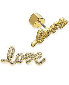 Gold-Tone Crystal Love Script Stud Earrings