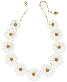 "Gold-Tone Flower Frontal Necklace, 16"" + 3"" extender"