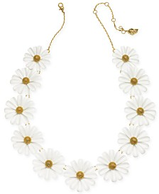"kate spade new york Gold-Tone Flower Frontal Necklace, 16"" + 3"" extender"
