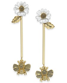Gold-Tone Flower & Bee Linear Drop Earrings
