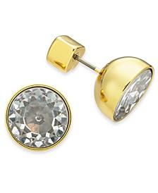 Gold-Tone Stone Bezel Stud Earrings