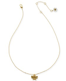 "kate spade new york Gold-Tone Mini Bee Pendant Necklace, 16"" + 3"" extender"