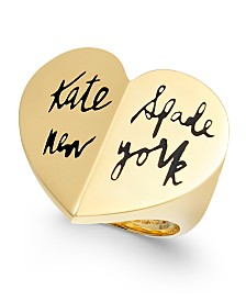 Kate Spade New York  Gold-Tone Logo Heart Ring