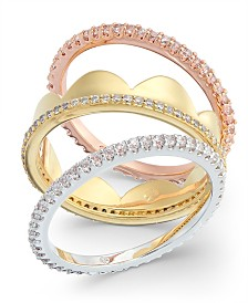 kate spade new york Tricolor 3-Pc. Set Cubic Zirconia Stackable Rings