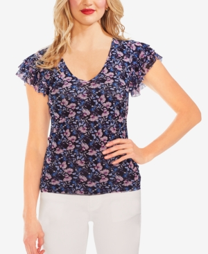 Vince Camuto Tops FLORAL-PRINT RUFFLED-SLEEVE TOP