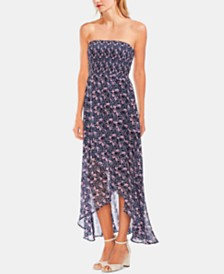 Vince Camuto Strapless Smocked Bodice Maxi Dress