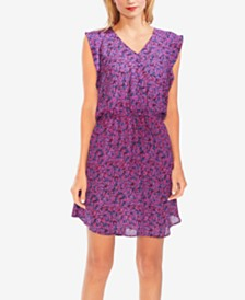 Vince Camuto Printed Drawstring-Waist Dress
