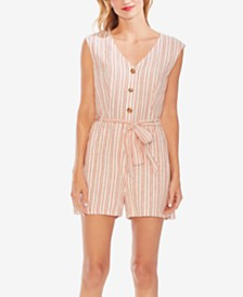 Vince Camuto Riveria Linen Striped Romper