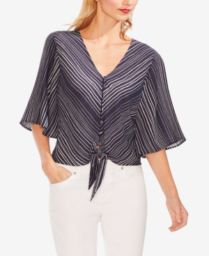 Vince Camuto Tops STRIPED TIE-FRONT TOP