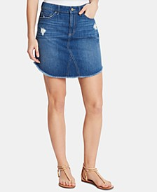 Joey Frayed Cotton Denim Skirt