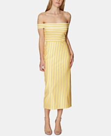 Avec Les Filles Off-The-Shoulder Striped Midi Dress