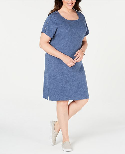 Karen Scott Plus Size Cotton Button-Trim Dress, Created for Macy's