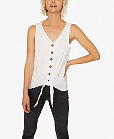 Tied To You Cotton Button-Front Tank Top