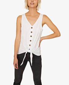 Sanctuary Tied To You Cotton Button-Front Tank Top