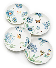 Lenox Dinnerware, Set of 4 Butterfly Meadow Blue Assorted Dessert Plates