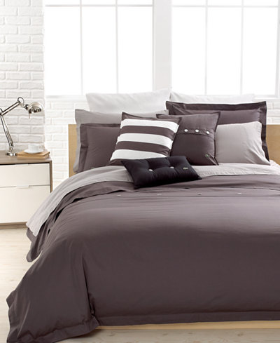 CLOSEOUT! Lacoste Solid Grey Brushed Twill Comforter and Duvet ...