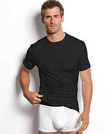 men's underwear, cotton spandex tagless slim fit crew neck Undershirt 2 pack