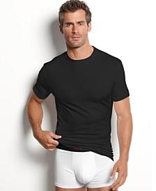 alfani men's underwear, cotton spandex tagless slim fit crew neck Undershirt 2 pack