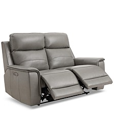 """CLOSEOUT! Goodwick 61"""" Leather Dual Power Motion Loveseat, Created for Macy's"""