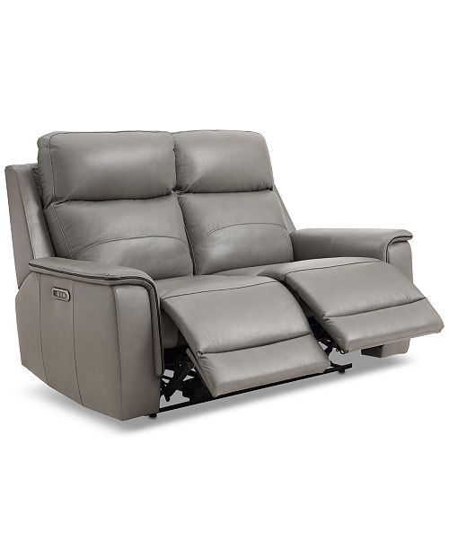 """Furniture CLOSEOUT! Goodwick 61"""" Leather Dual Power Motion Loveseat, Created for Macy's"""