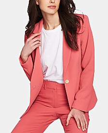 1.STATE Textured-Crepe One-Button Blazer