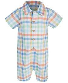 First Impression's Baby Boy's Plaid Bodysuit, Created for Macy's