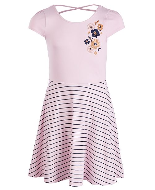 Epic Threads Big Girls Flower Striped Dress, Created for Macy's