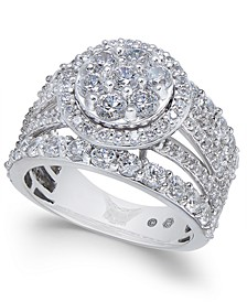 Diamond Multi-Row Cluster Ring (3 ct. t.w.) in 14k White Gold