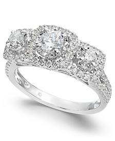 Triple Diamond Engagement Ring (1 ct. t.w.) in 14k White Gold
