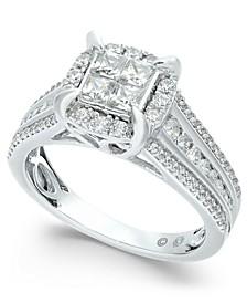 Diamond Quad Halo Ring (1 ct. t.w.) in 14k White Gold