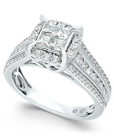 Diamond Quad Halo Ring (1 ct. t.w.) in 14k White Gold