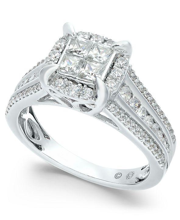 Macy's Diamond Quad Halo Ring (1 ct. t.w.) in 14k White Gold