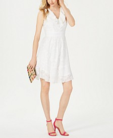Ruffle-Trim A-Line Dress