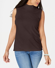 Karen Scott Mock-Neck Sleeveless Top, Created for Macy's
