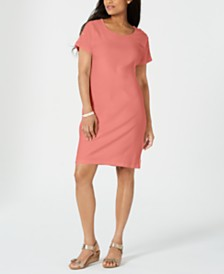 Karen Scott Petite Button-Shoulder Shirtdress, Created for Macy's