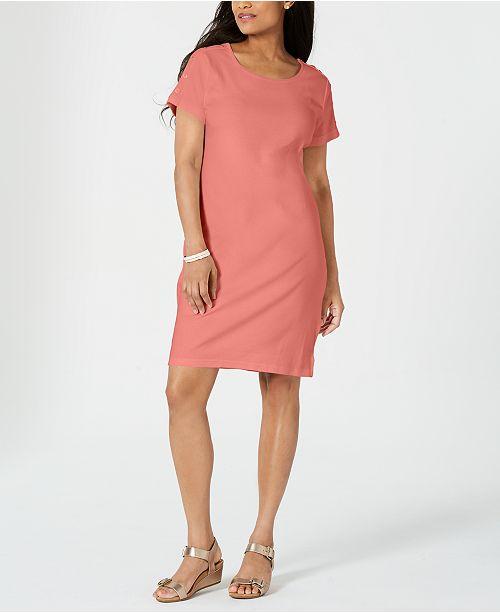 Karen Scott Petite Button-Shoulder Shirtdress, Created for Macy's
