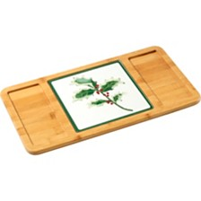 Celebrations by Bamboo 2-Piece Serving Tray with Holly Cutting Board